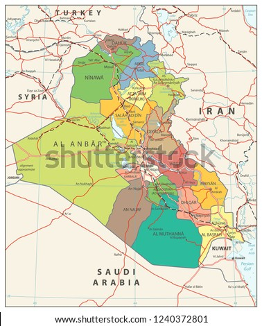 Iraq Political Map Capital Baghdad National Stock Vector (Royalty ...