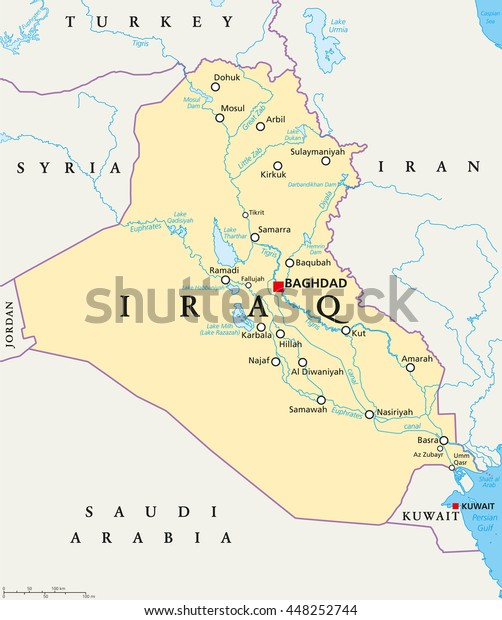 Iraq Political Map Capital Baghdad National Arkistovektori