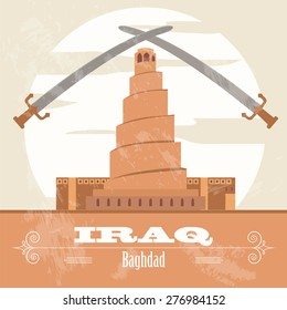 Iraq. Retro styled image. Vector illustration