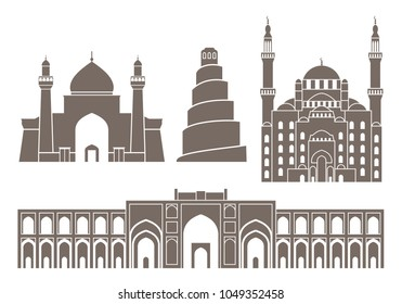 Iraq set. Isolated Iraq architecture on white background