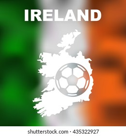 Ireland. Abstract irish map with football on flag background. Vector illustration