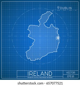 Blueprint ireland images stock photos vectors shutterstock ireland blueprint map template with capital city dublin marked on blueprint irish map vector malvernweather Gallery