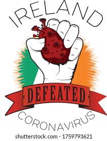 ireland europe win victory defeated coronavirus win color vector fist flag