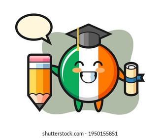 Ireland flag badge illustration cartoon is graduation with a giant pencil, cute style design for t shirt, sticker, logo element