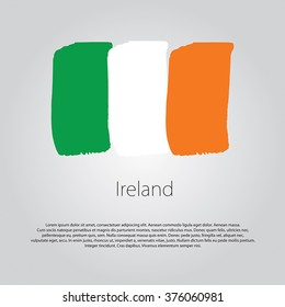 Ireland Flag with colored hand drawn lines in Vector Format