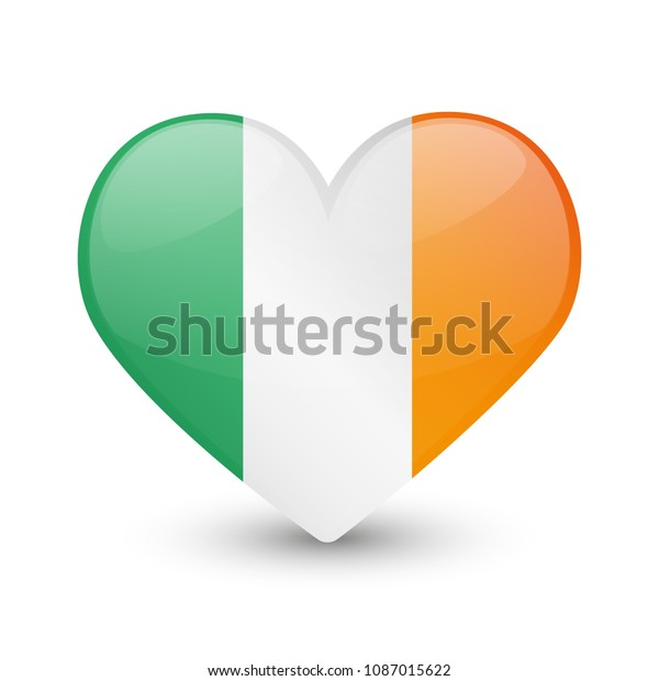 Ireland Flag Heart Love Emoji Icon Stock Vector Royalty Free 1087015622
