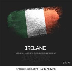 Ireland Flag Made of Glitter Sparkle Brush Paint Vector