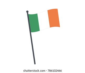 Ireland flag. The national flag of Ireland on a pole. The waving flag. The sign and symbol of the country. Realistic vector on white.