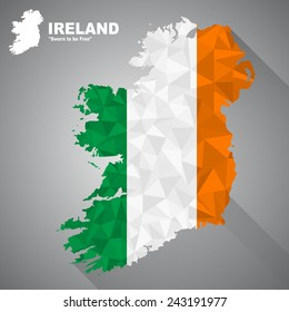 Ireland flag overlay on Ireland map with polygonal and long tail shadow style (EPS10 art vector)