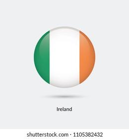 Ireland flag - round glossy button. Vector Illustration.