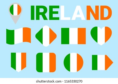 Ireland Flag Set Vector Collection Of Irish National Flags Flat Isolated Icons Country
