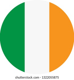Ireland flag. Simple vector round Ireland  flag