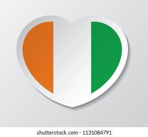 ireland flag vector love heart shape