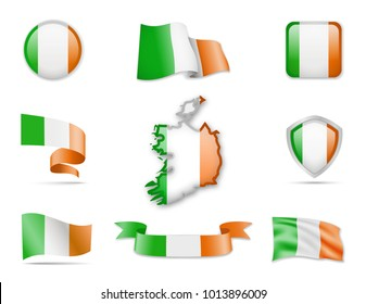 Ireland Flags Collection. Flags and contour map. Vector illustration