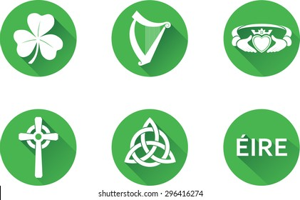 Ireland Flat Icons Set. Set of vector graphic icons representing national symbols of The Republic of Ireland. The text says 'Ireland' in Irish.