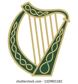 Ireland Harp musical instrument in vintage, retro style, illustration on the theme of St. Patricks day celebration, isolated on white, vector illustration
