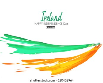 Ireland Independence Day on 24 April, background in national flag color theme. Celebration banner with curving flags and clovers. Vector illustration