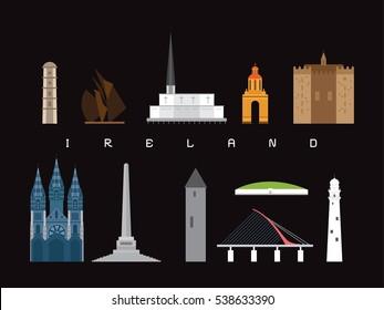 Ireland Landmarks Travel and Journey Icon Vector