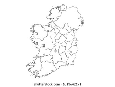 Blank Map Of Ireland With Counties.Map Of Ireland With Counties Stock Vectors Images Vector Art