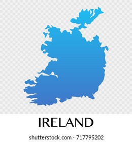 Ireland map in Europe continent illustration design