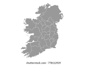 ireland map. High detailed vector map with counties/regions/states of ireland on white background. Vector illustration eps 10.