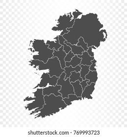 Ireland map isolated on transparent background