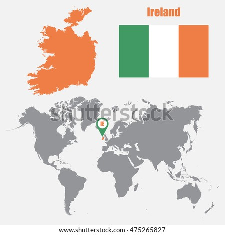 World Map With Ireland.Ireland Map On World Map Flag Stock Vector Royalty Free 475265827