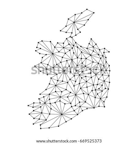 Ireland Map Polygonal Mosaic Lines Rays Stock Vector Royalty Free