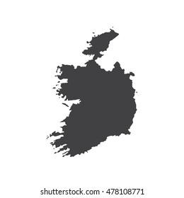 Ireland map silhouette illustration on the white background. Vector illustration