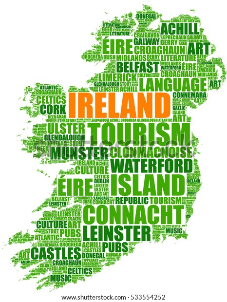 Ireland map silhouette tag cloud vector illustration