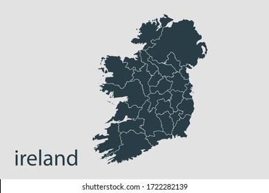 ireland map vector, Abstract design vector illustration Eps 10. Navy color.High Detailed on white background.