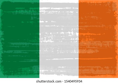 Ireland national flag isolated vector illustration. Travel map design graphic element. Europe county striped symbol. Ireland tricolor flag icon with grunge texture. Flat flag of Ireland
