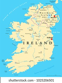 Ireland and Northern Ireland political map with capitals Dublin and Belfast, borders, important cities, rivers and lakes. Island in the North Atlantic Ocean. English labeling. Illustration. Vector.