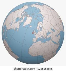 Ireland on the globe. Earth hemisphere centered at the location of the Republic of Ireland. Ireland map.