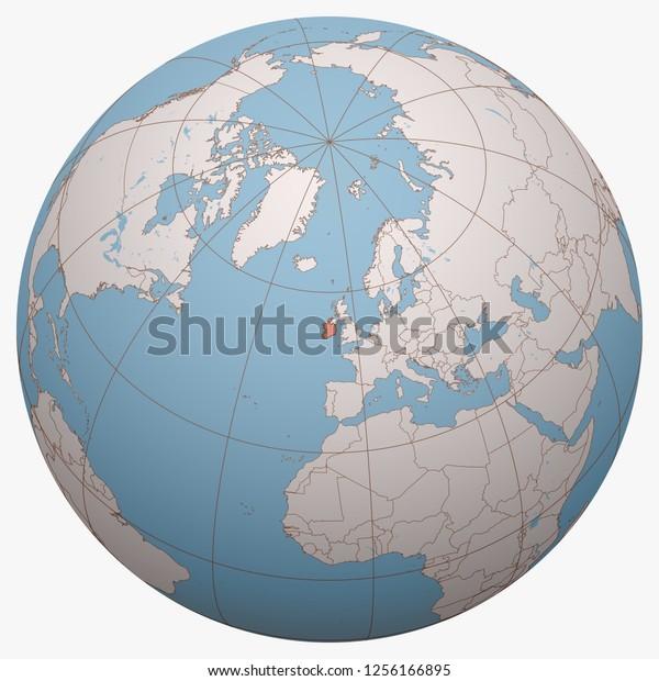 Ireland On Globe Earth Hemisphere Centered Stock Vector ...