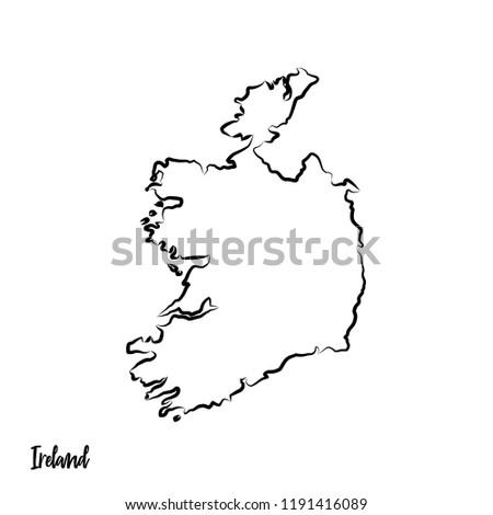 Outline Map Of Ireland.Ireland Outline Contour Black Map Stock Vector Royalty Free