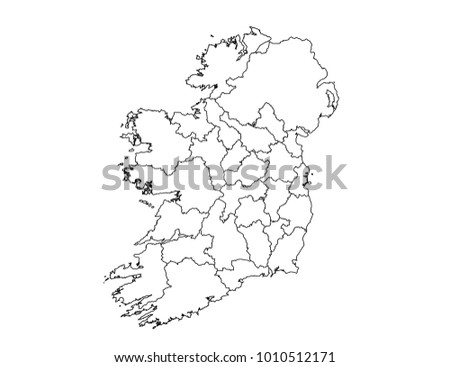 Outline Map Of Ireland.Ireland Outline Map Detailed Isolated Vector Stock Vector Royalty