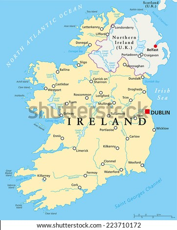 Cities In Ireland Map.Ireland Political Map Capital Dublin National Stock Vector Royalty