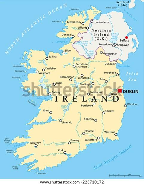 Irland Politisk Kort Med Hovedstaden Dublin Lagervektor