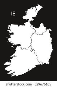 Ireland provinces Map black white
