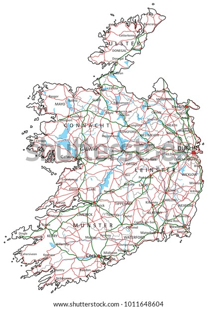 Map Of Ireland Highways.Ireland Road Highway Map Vector Illustration Stock Vector Royalty
