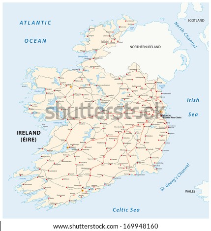 Road Map Of Ireland Counties.Ireland Road Map Stock Vector Royalty Free 169948160 Shutterstock