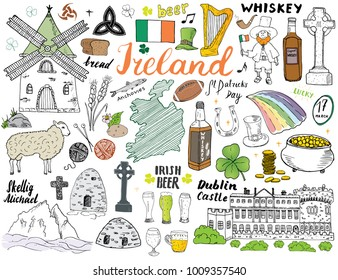 Ireland Sketch Doodles. Hand Drawn Irish Elements Set with flag and map of Ireland, Celtic Cross, Castle, Shamrock, Celtic Harp, Mill and Sheep, Whiskey Bottles and Irish Beer, Vector Illustration.