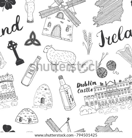 Sketch Map Of Ireland.Ireland Sketch Doodles Seamless Pattern Irish Stock Vector Royalty