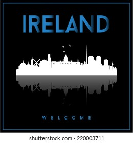 Ireland skyline silhouette vector design on parliament blue and black background.