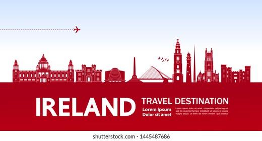 Ireland travel destination grand vector illustration.