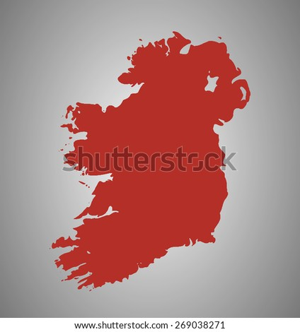 Detailed Map Of Ireland Vector.Ireland Vector Country Shape Outline High Stock Vector Royalty Free