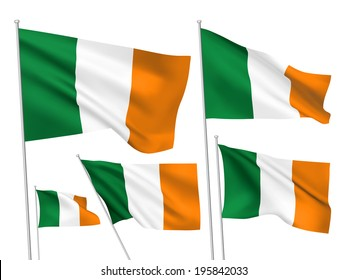 Ireland vector flags set. 5 wavy 3D cloth pennants fluttering on the wind. EPS 8 created using gradient meshes isolated on white background. Five fabric flagstaff design elements from world collection