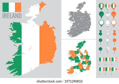 Ireland vector map with flag, globe and icons on white background