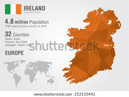 Ireland World Map Pixel Diamond Texture Stock Vector (Royalty Free ...